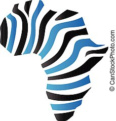 Duo Tone Icon - Africa map striped