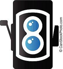 Duo Tone Icon - TLR camera - Twin lens reflex camera icon in...