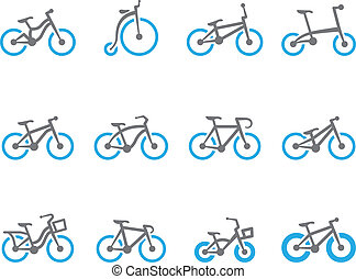 Bicycle type icons in duo tone colors.