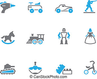 Duo Tone Icons - Toys - Vintage toy icons in duo tone colors