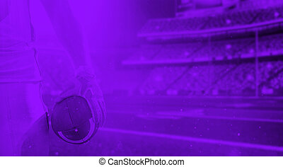 duo toned american football player in  arena at night