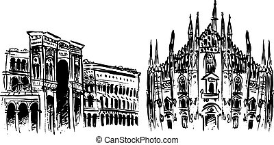 Duomo and Vittorio Emanuele II Gallery - Milan Cathedral,...