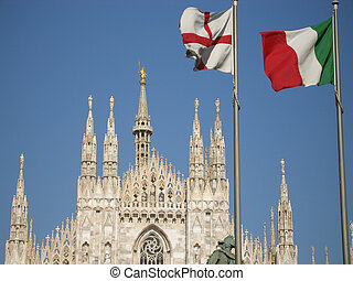 view of the Duomo in Milan in Lombardy in Itlay