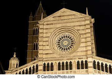 Grosseto (Tuscany, Italy), cathedral facade by night