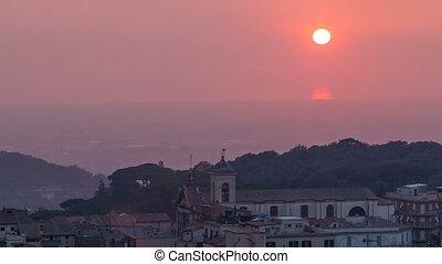 Duomo di San Pancrazio Martire at sunset in beautiful town...