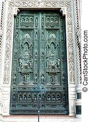 Duomo Front Door Florence Italy