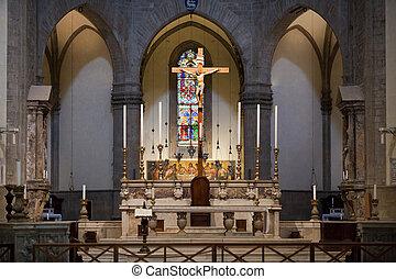 duomo, -, interior., 本, フィレンツェ, 祭壇