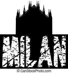 Duomo Milan with grunge text illustration