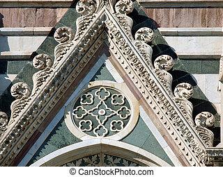 duomo, -, reachness, detalhes, fachada, florença