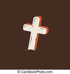 Duotone Cartoon grave cross icon. Smiley and evil emotions