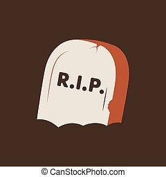 Duotone Cartoon gravestone icon. Smiley and evil emotions