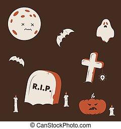 Duotone Cartoon halloween cemetery scene. Smiley and evil emotions