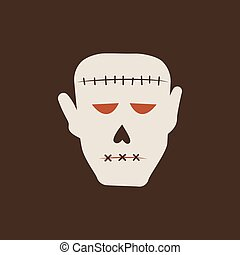 Duotone Cartoon halloween Frankensteins monster zombie head icon. Smiley and evil emotions
