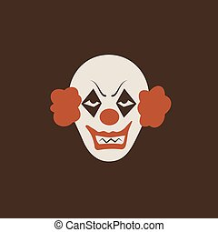Duotone Cartoon halloween scary clown icon. Smiley and evil emotions