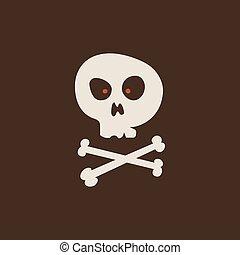 Duotone Cartoon halloween skull with bones cross icon. Smiley and evil emotions