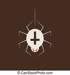 Duotone Cartoon halloween Spider crusader, Black arachnia icon. Smiley and evil emotions