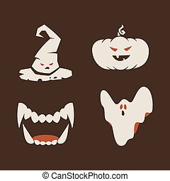 Duotone Cartoon halloween symbols set. Smiley and evil emotions