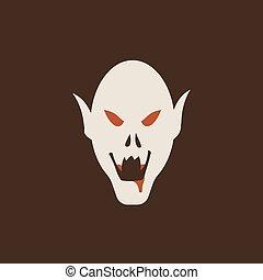 Duotone Cartoon halloween vampire head icon. Smiley and evil emotions