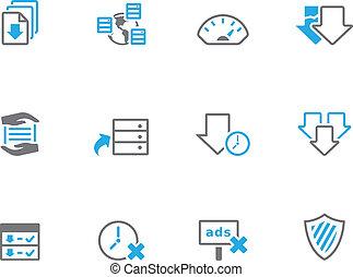 duotone, iconen, -, dossier het delen