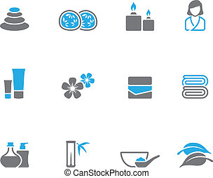 Spa related icon series in duo tone color style.