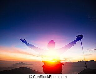 dupla kitettség, ember, képben látható, a, tető, közül, hegy, őrzés, napnyugta