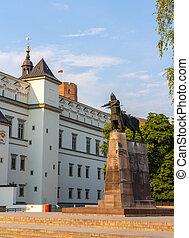 duque, lituania, magnífico, gediminas, monumento, vilnius
