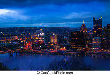 Duquesne Bridge of Pittsburg and downtown at night