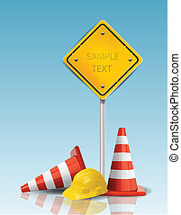 dur, cônes, casquette, signe jaune, trafic