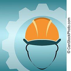 dur, construction, icône, chapeau