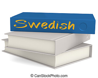 dur, couverture, bleu, livres, à, suédois, mot
