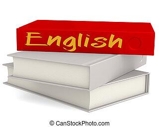dur, couverture, livres, à, anglaise, mot