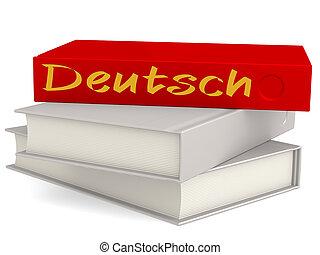 dur, couverture, livres, à, deutsch, mot
