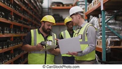 dur, mâle, investit, usine, chapeaux, ouvriers, usine, ...