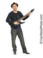 duração cheia, de, homem, com, chapéu, e, guitarra