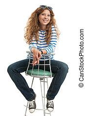 duração cheia, de, menina senta-se cadeira