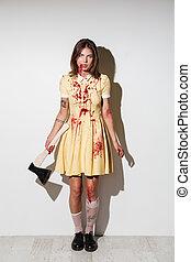 duração cheia, imagem, de, louco, zombie, mulher, posar, com, machado