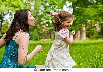 duração desfrutando, -, mãe, com, dela, criança