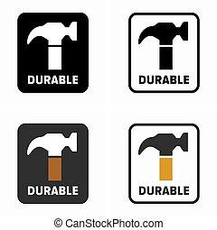 Durable, hardwearing item property symbol