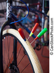 White bicycle tire