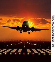 durante, aeroplano, spento, prendere, tramonto