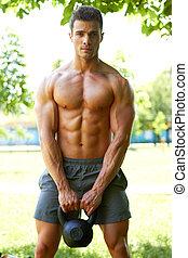 durante, allenamento, bello, uomo