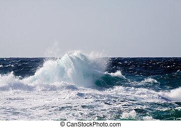 durante, alto, onda, mar, tempestade