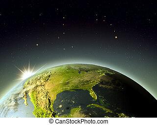durante, américa, norte, amanhecer, espaço