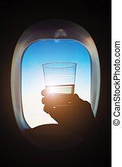 durante, bebida, vôo