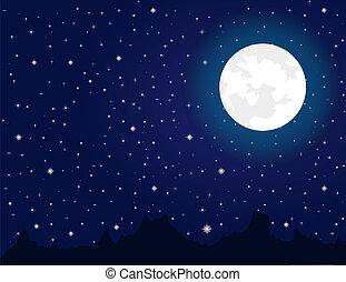 durante, brillante, noche, estrellas, luna