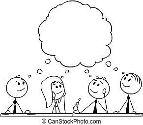 durante, cartone animato, brainstorming, uomini affari, squadra