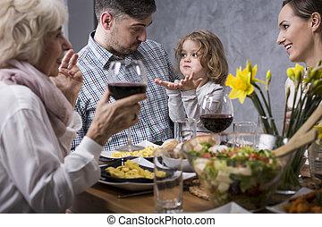 durante, cena, padre, famiglia, figlio