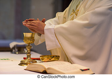 durante, ceremony/nuptial, sacerdote, masa, boda