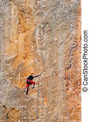 durante, conquista, escalador, roca