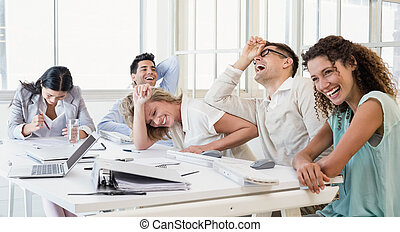 durante, equipe, negócio, rir, reunião casual